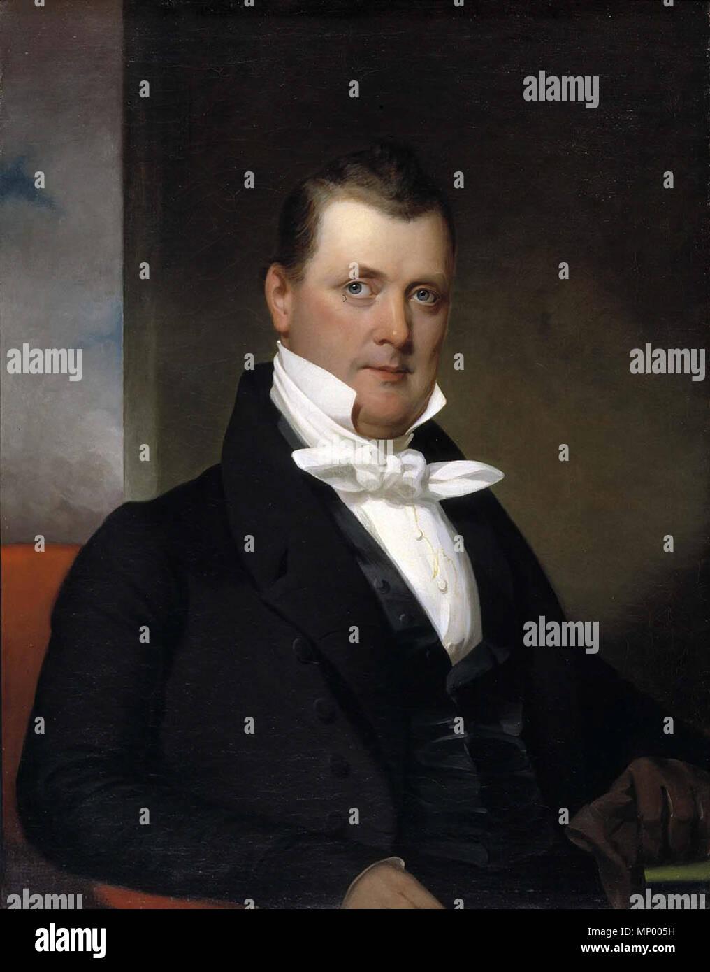 . Inglese: Ritratto di James Buchanan dipinta da J. Eichholtz nel 1834. Olio su tela 36 1/8 x 28 1/4 in. (91,7 x 71,8 cm) presso lo Smithsonian American Art Museum. . 1834. 692 James Buchanan dipinta da J. Eichholtz Immagini Stock