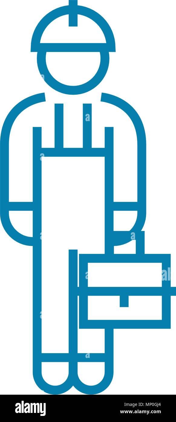 Collare blu icona lineare concetto. Collare blu linea segno del vettore, simbolo, figura. Immagini Stock