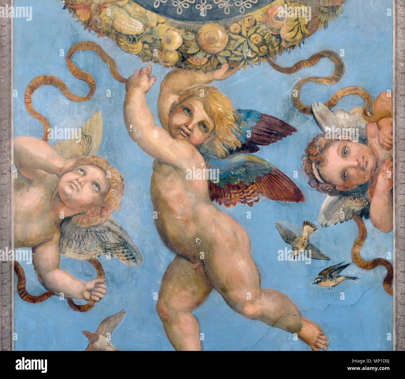 Villa Farnesina, originale north hall, con soffitto dipinto con aperture illusionistica al 'Sky' con putti da B. Peruzzi , roma, Italia Immagini Stock