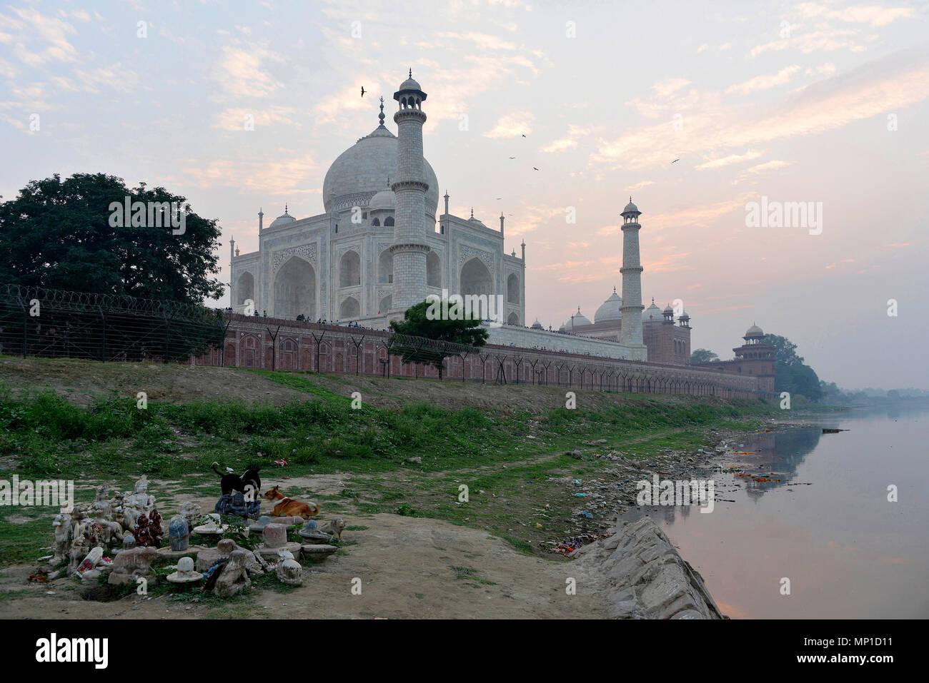 Vista del Taj Mahal da nordest, offerte sulla banca del fiume Yamuna, Āgra, Uttar Pradesh, India Immagini Stock