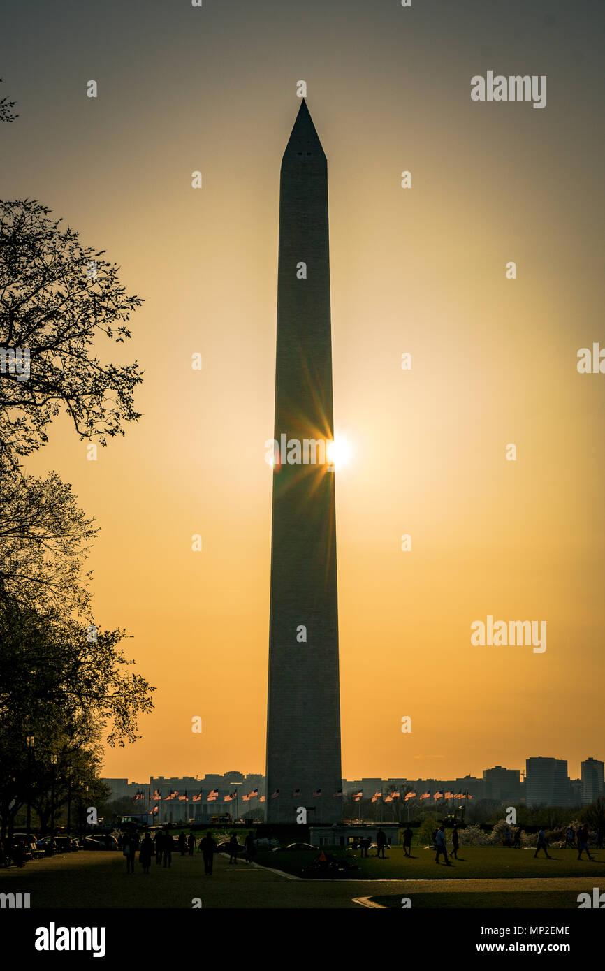 Il Monumento a Washington al tramonto, Washington DC Immagini Stock