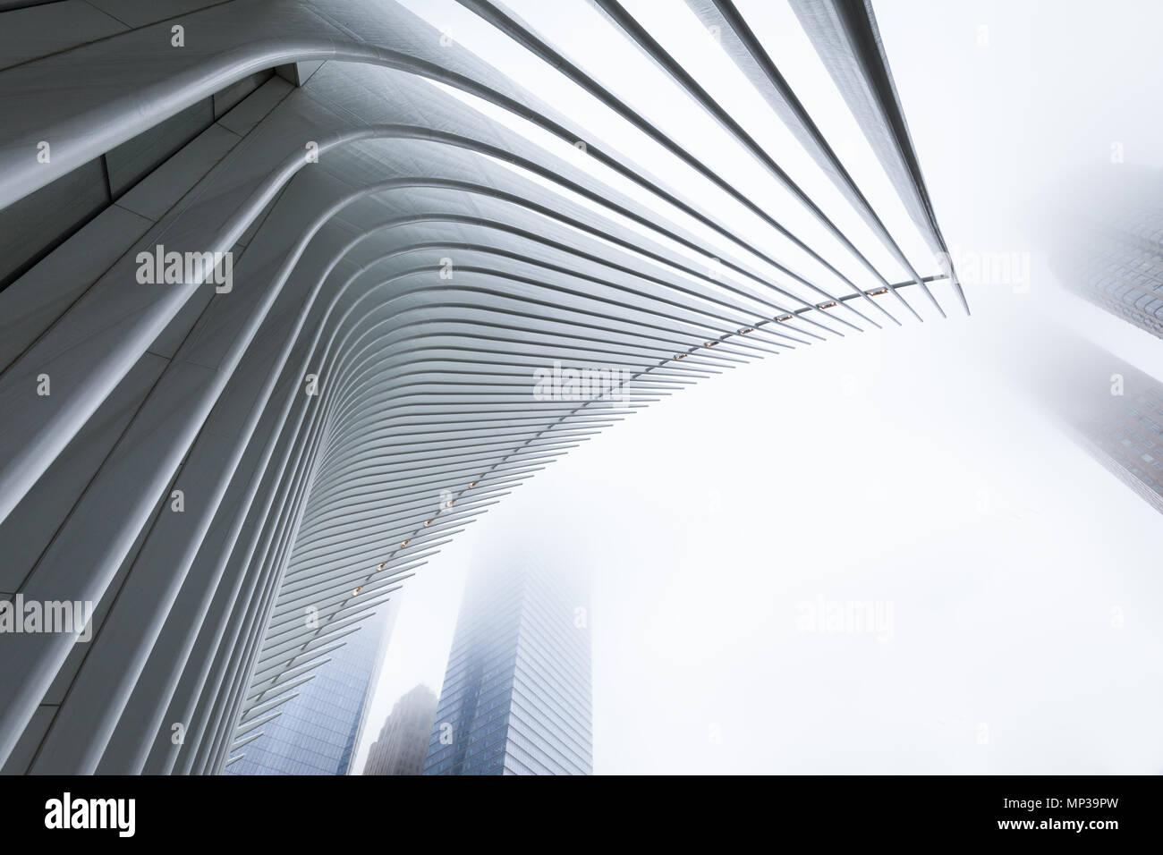 L'occhio edificio nella nebbia, la parte inferiore di Manhattan, New York City, Stati Uniti d'America. Foto Stock