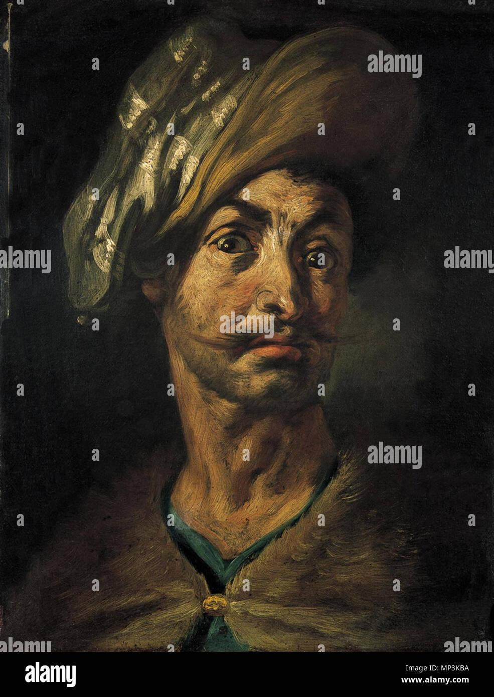 . Italiano: Testa virili con turbante . tra 1615 e 1630. Tanzio da Varallo - collezione privata 1166 Testa virili con turbante - Tanzio da Varallo Immagini Stock
