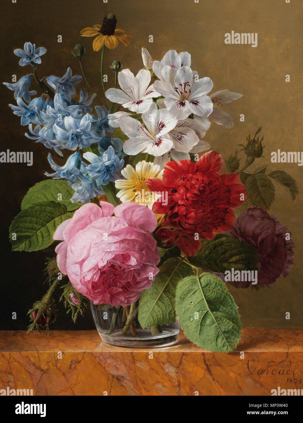 Mazzo Di Fiori Un Inglese.Inglese Bouquet Di Fiori In Un Vetro 1825 697 Jan Frans Van Dael