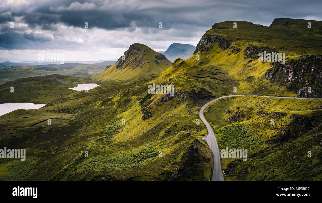 Highlands scozzesi paesaggio - La Quiraing, Isola di Skye - Scozia, Regno Unito Immagini Stock