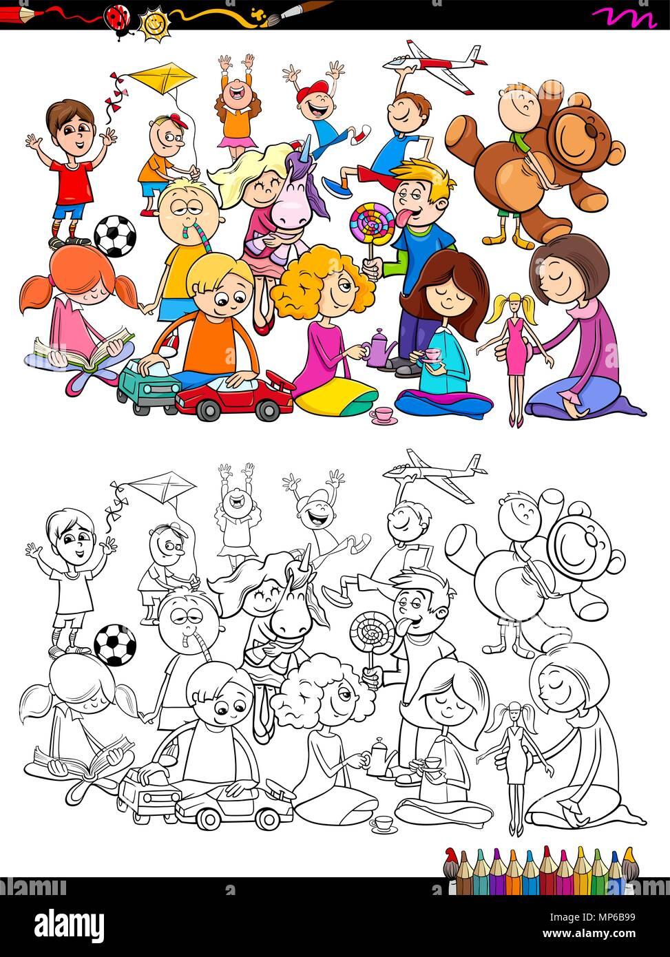 Cartoon Illustrazione Di Ragazze E Ragazzi Bambini Gruppo Di