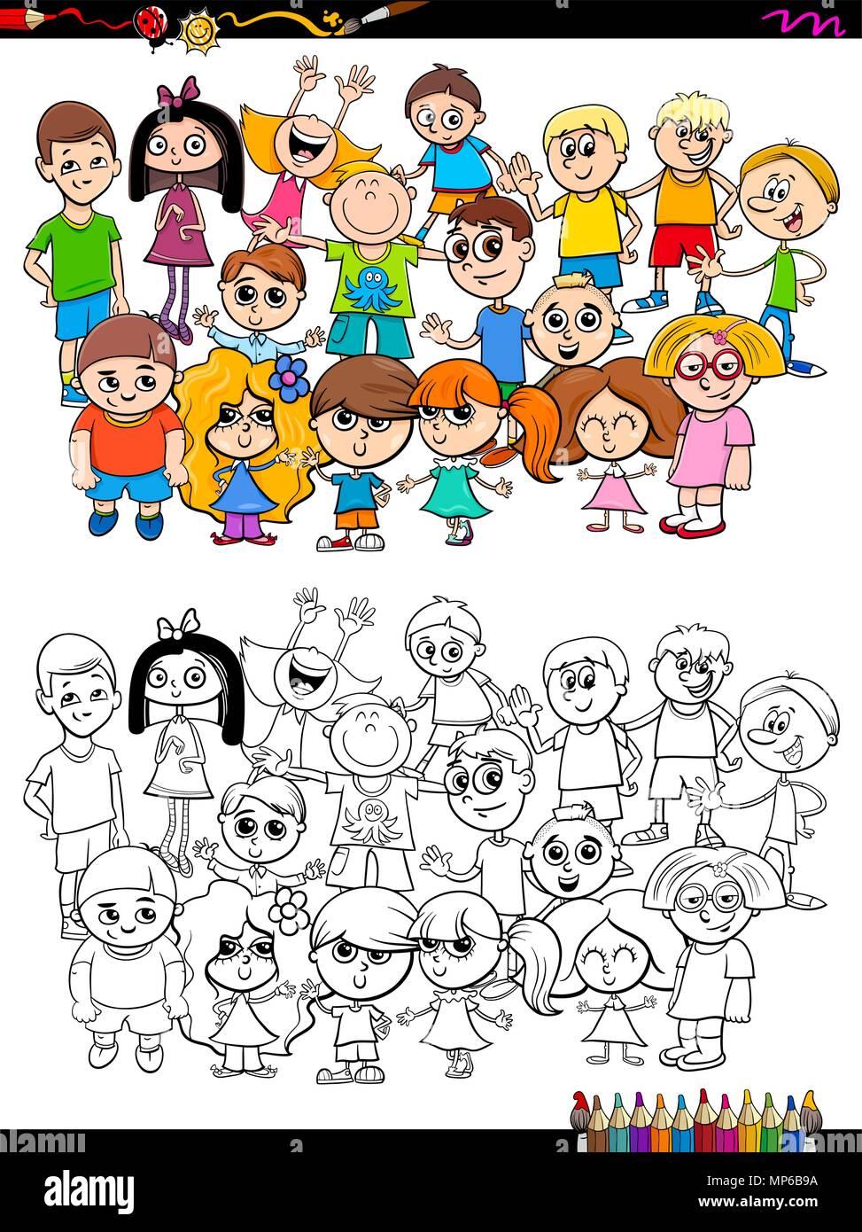 Cartoon Illustrazione Di Ragazze E Ragazzi Kid Gruppo Di Caratteri