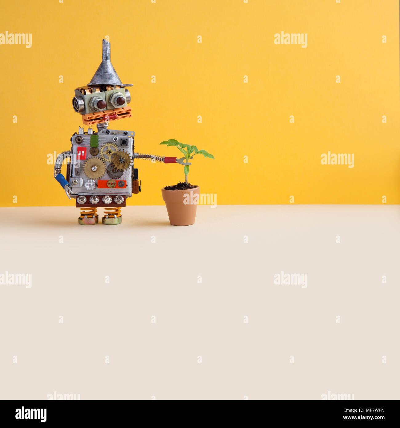 Il Robot esplora un soggiorno pianta verde in un fiore pentola di ...