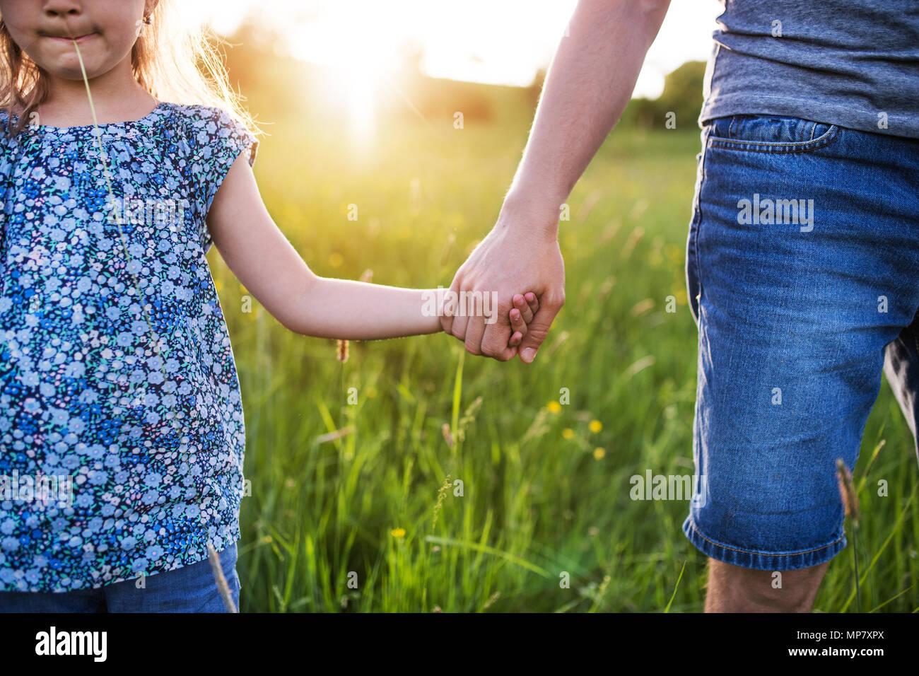 Padre di una figlia piccola su una passeggiata in primavera la natura al tramonto. Immagini Stock