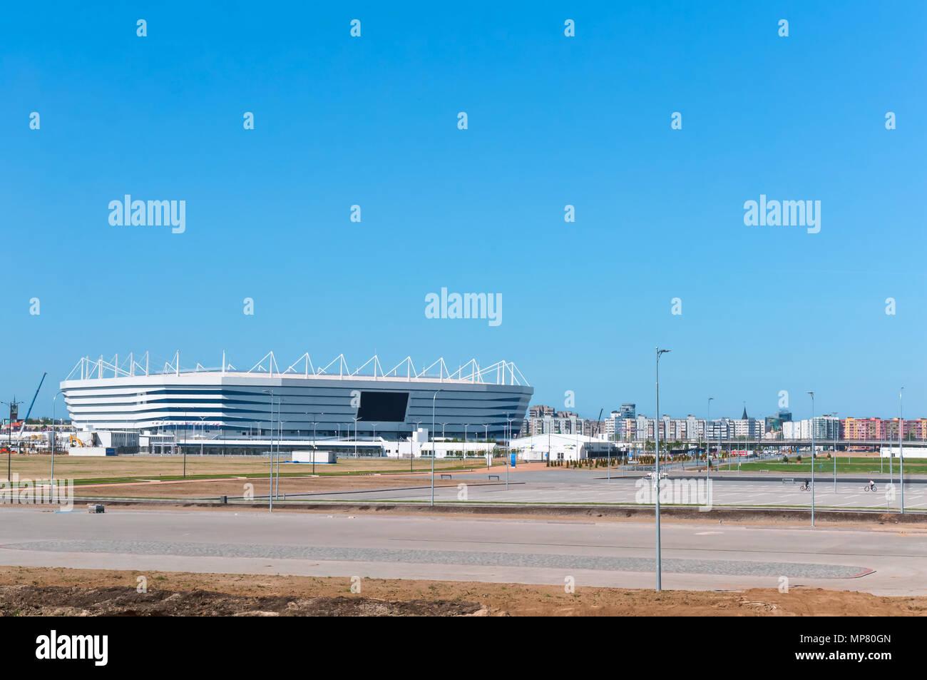 Complesso sportivo, impianto sportivo, lo stadio di calcio in primavera, della Russia, Kaliningrad, maggio 2018, Coppa del mondo Immagini Stock