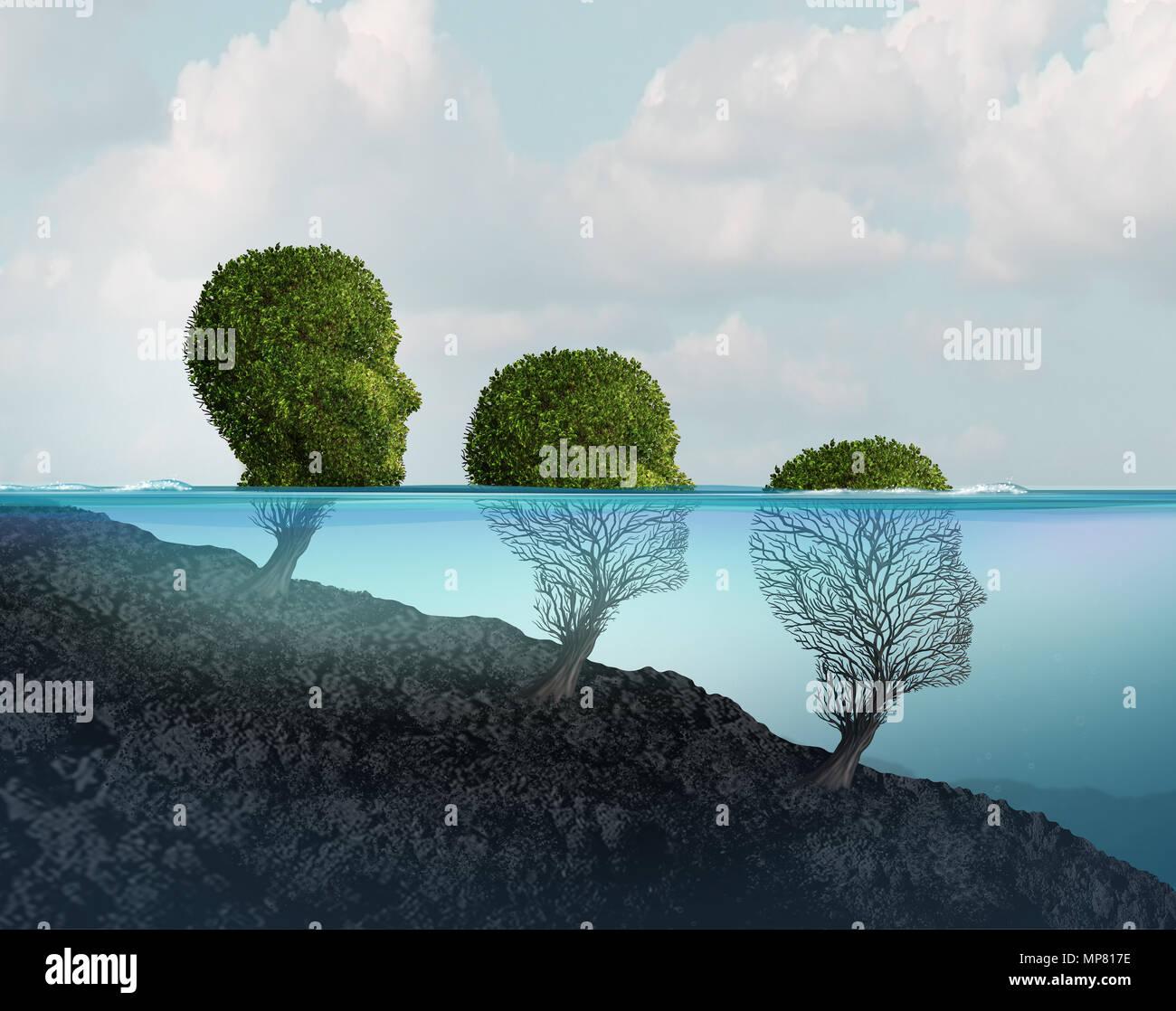 La salute mentale declino e la sofferenza psicologica e disturbo psichiatrico concetto con 3D'illustrazione degli elementi. Immagini Stock