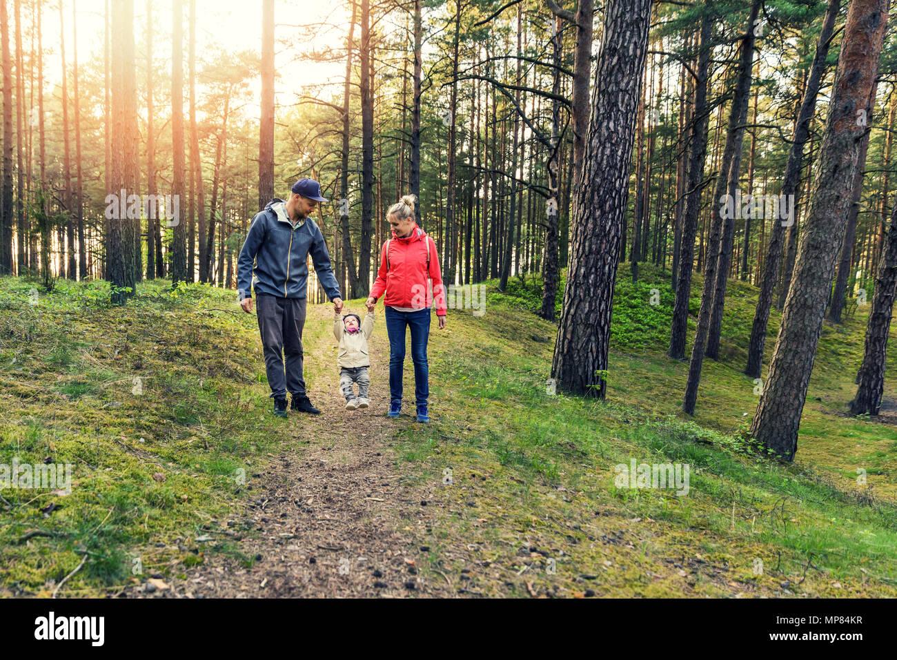 Famiglia a piedi nella foresta Immagini Stock