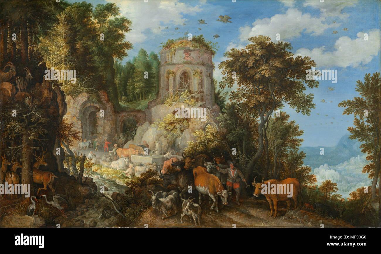 Pittura; olio su pannello; complessivo: 54,3 x 91,5 cm (21 3/8 x 36 in.) incorniciato: 71,1 x 107,6 x 5,7 cm (28 x 42 3/8 x 2 1/4 in.); paesaggio con la Fuga in Egitto 1624. 791 paesaggio con la Fuga in Egitto-1624-Roelandt Savary Immagini Stock