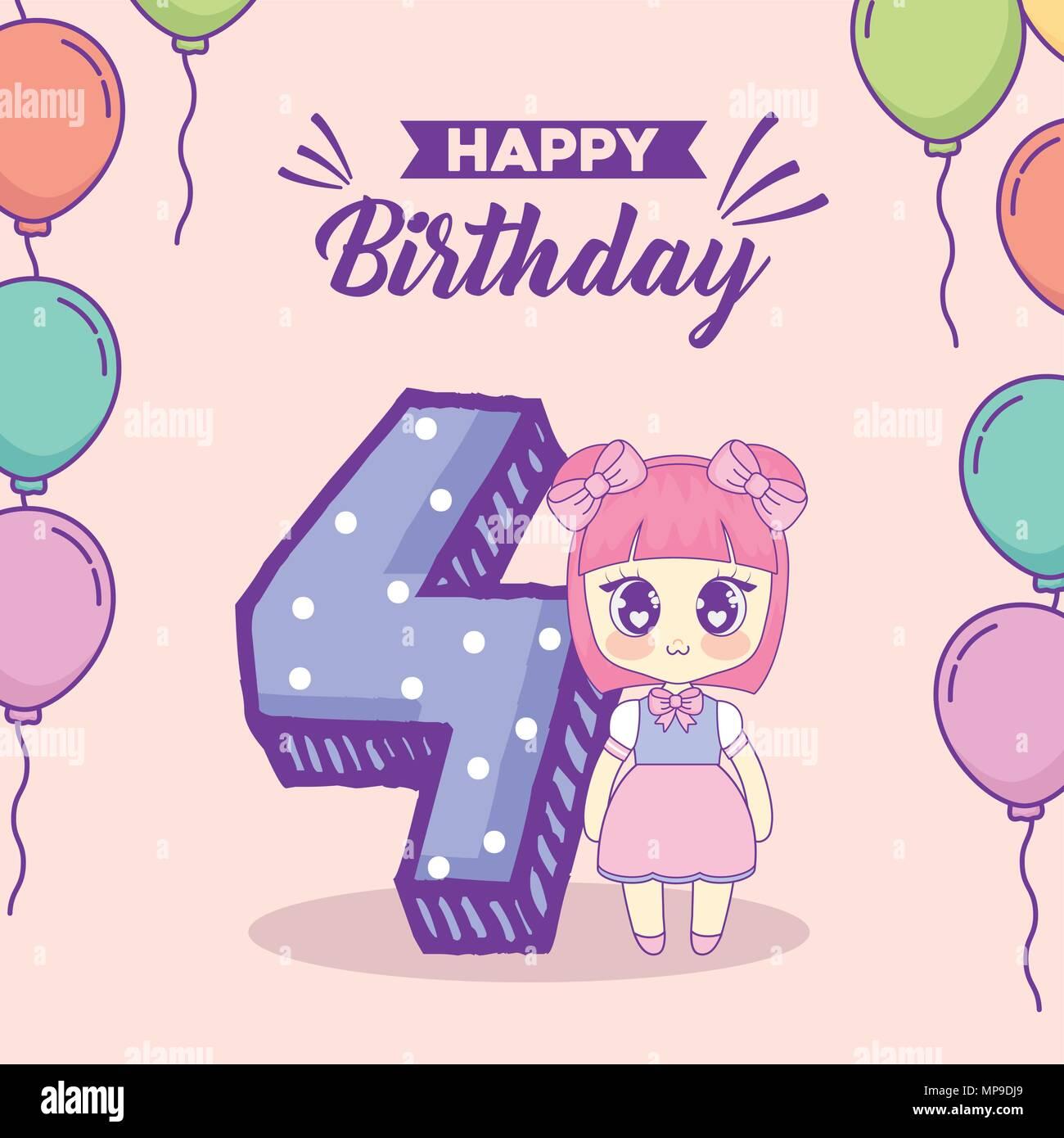 Buon Compleanno Design Con Kawaii Anime Girl E Il Numero 4 Su Sfondo