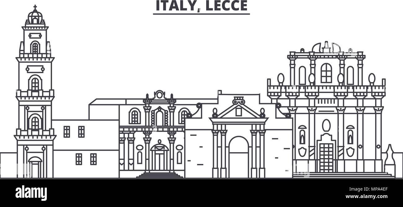 Architetti Famosi Lecce l'italia, lecce skyline di linea illustrazione vettoriale. l