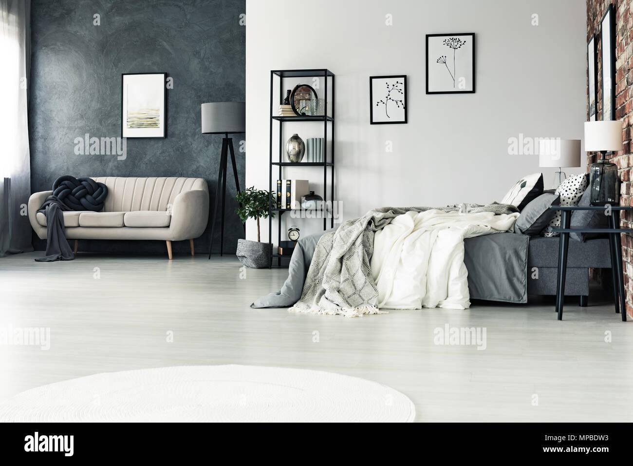Camere spaziose, grigio multifunzionale camera da letto con divano ...