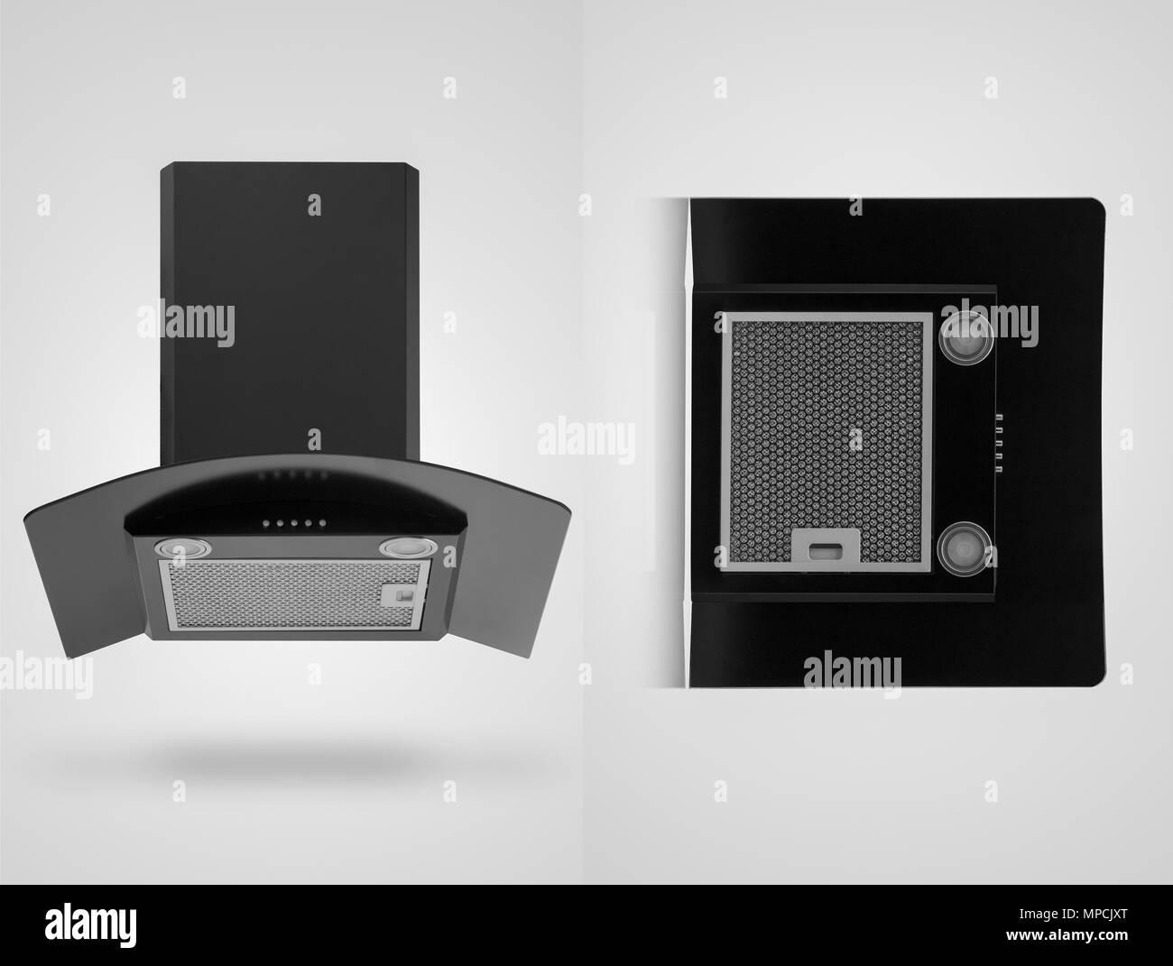 Nera cappa da cucina in due angoli su uno sfondo bianco. isolato
