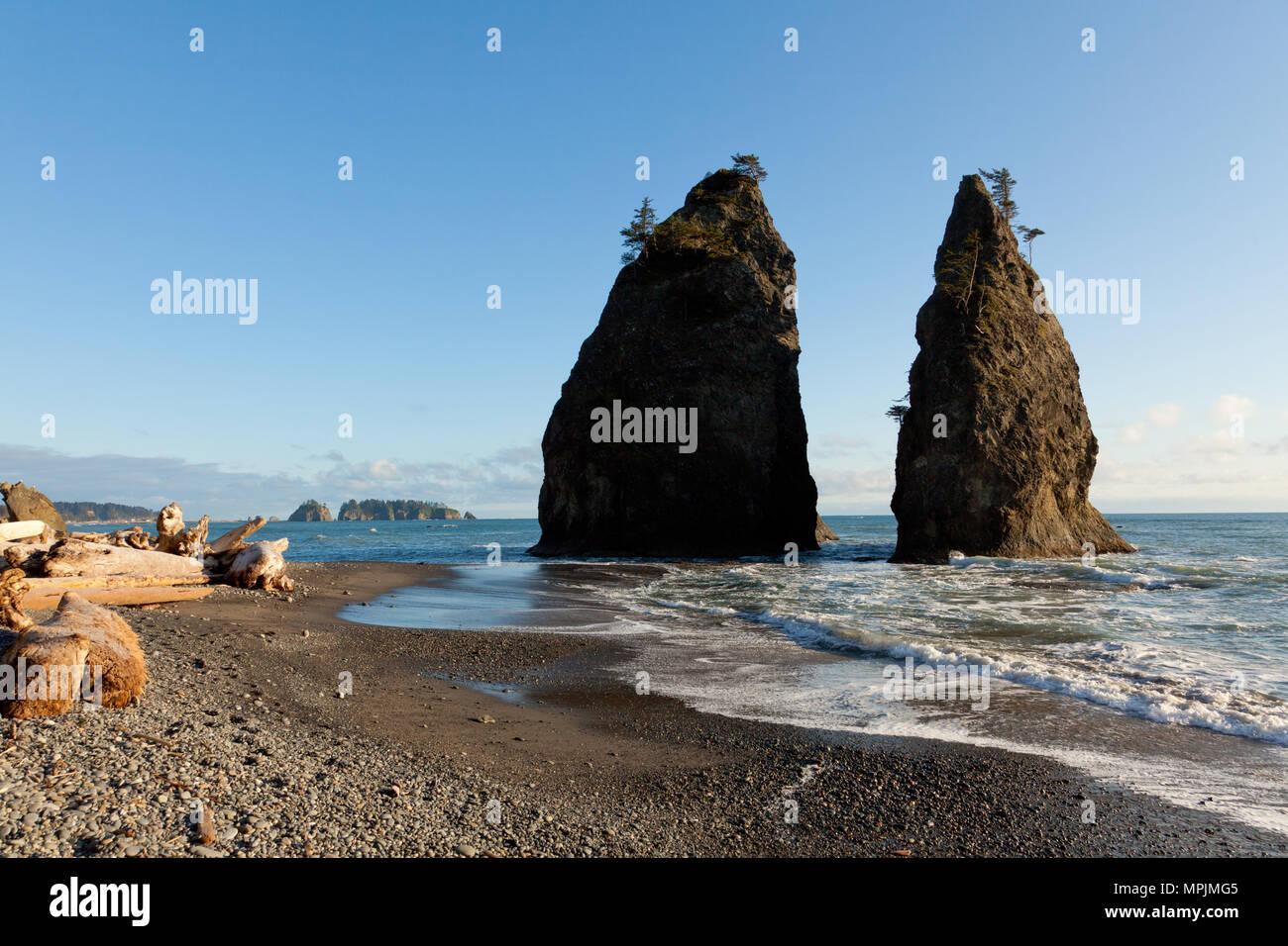 Rialto Beach, Olympic Costa, nello Stato di Washington, USA Foto Stock