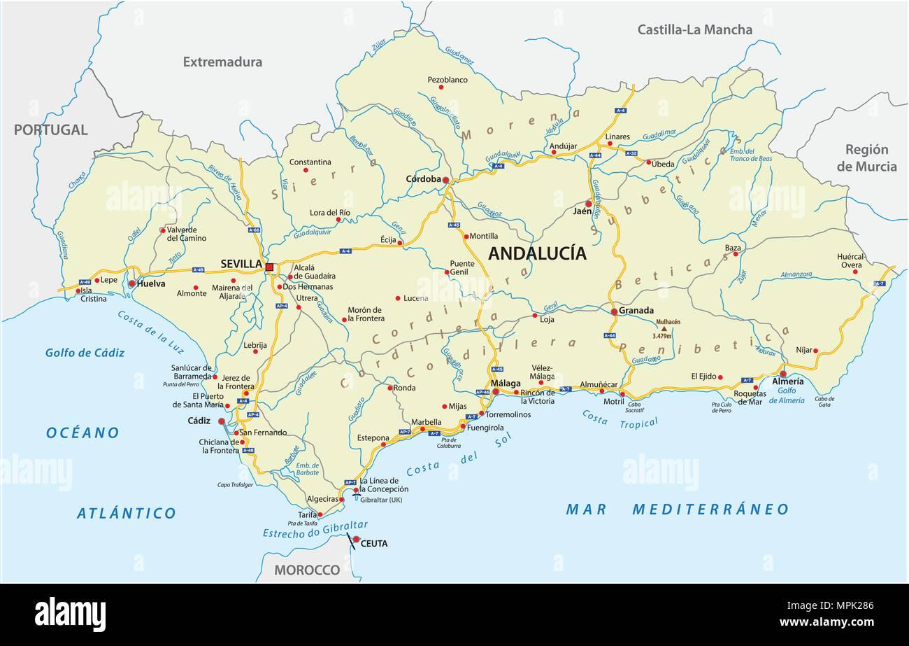 Spagna Cartina Geografica Andalusia.Strada Mappa Vettoriale Della Comunita Autonoma Di Andalusia Spagna Immagine E Vettoriale Alamy
