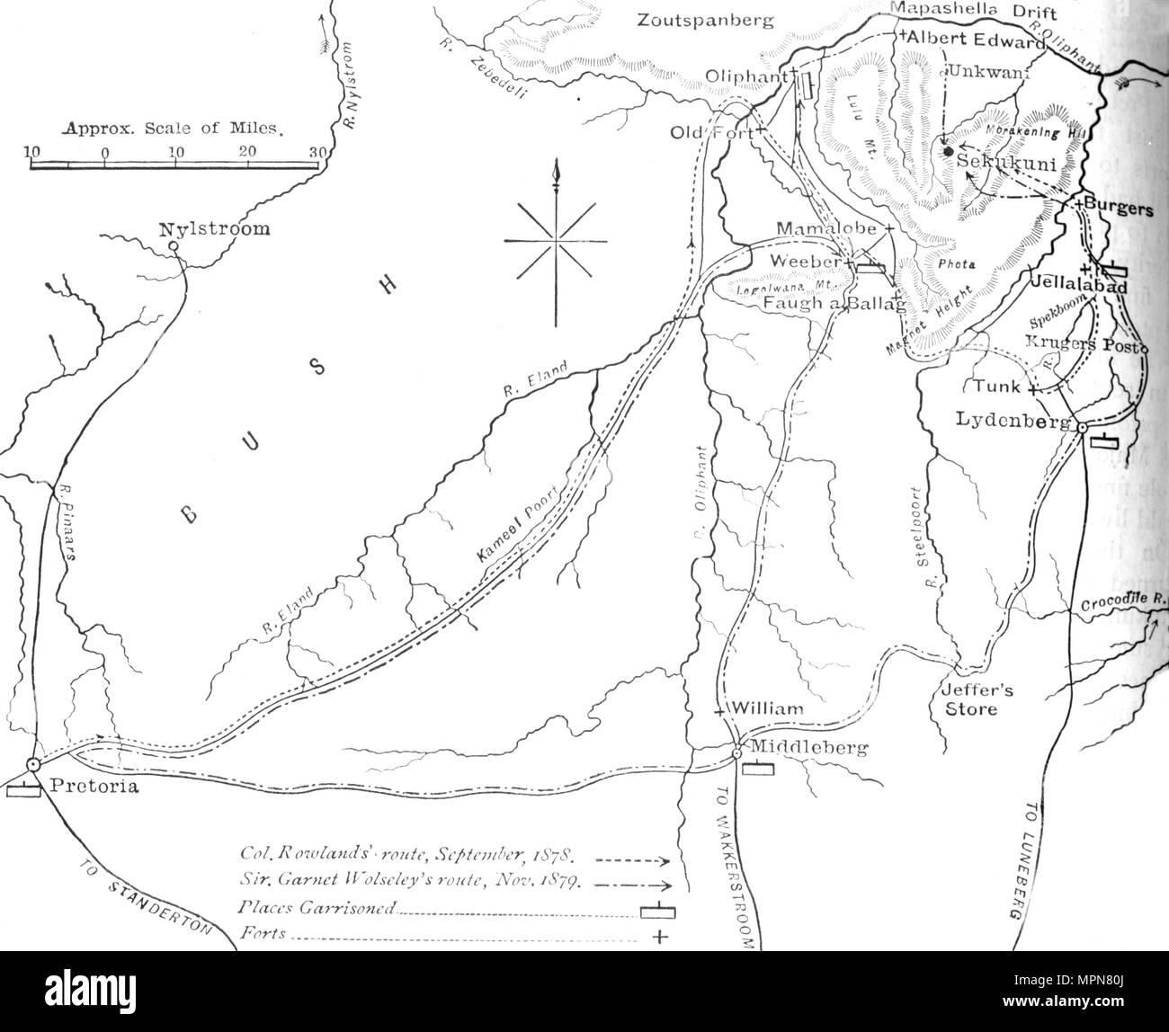 'Sketch Mappa di Sekukuni paese dell', C1880. Artista: sconosciuto. Immagini Stock