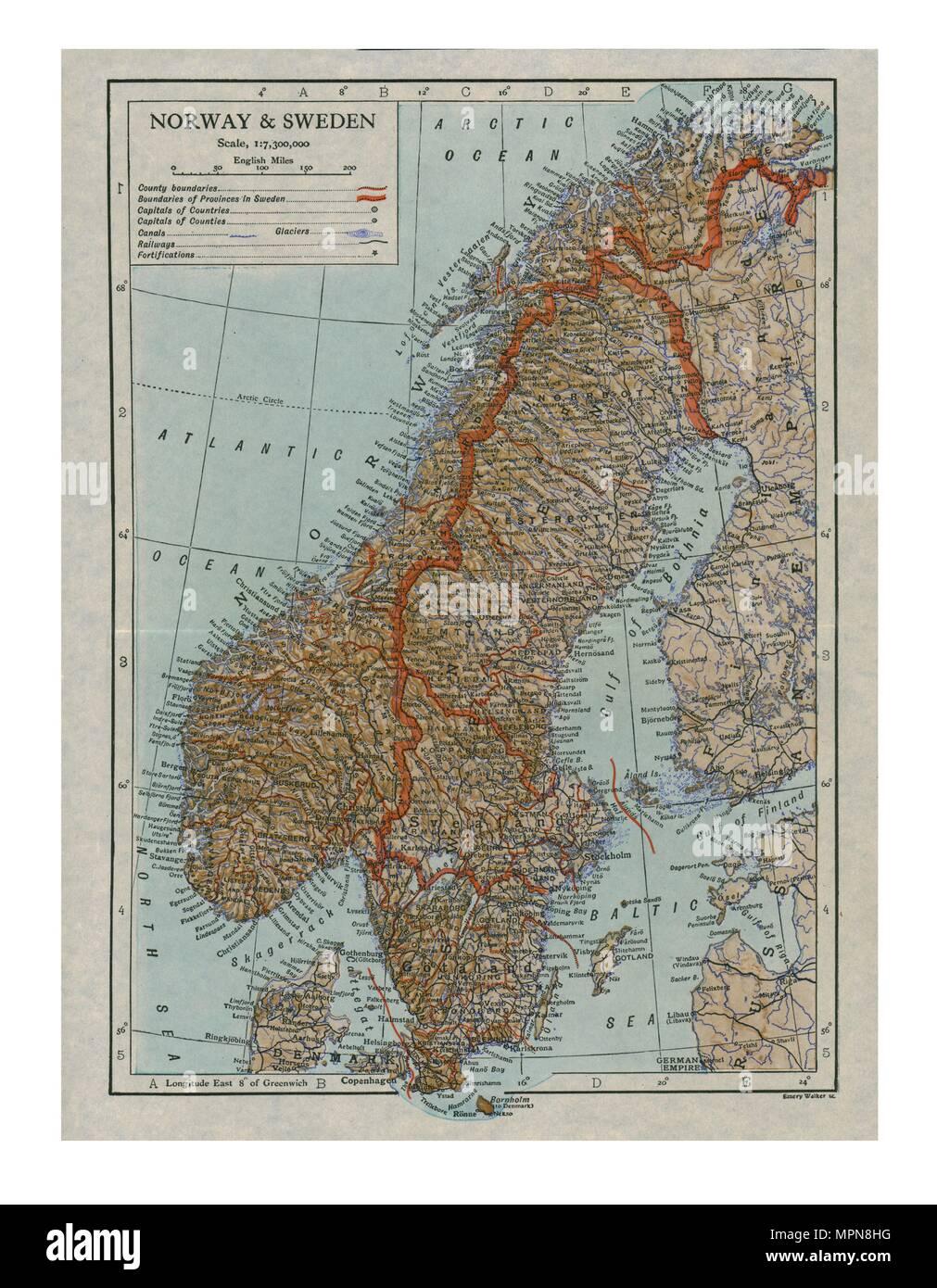 Mappa della Norvegia e della Svezia, c xix secolo secolo. Artista: sconosciuto. Immagini Stock