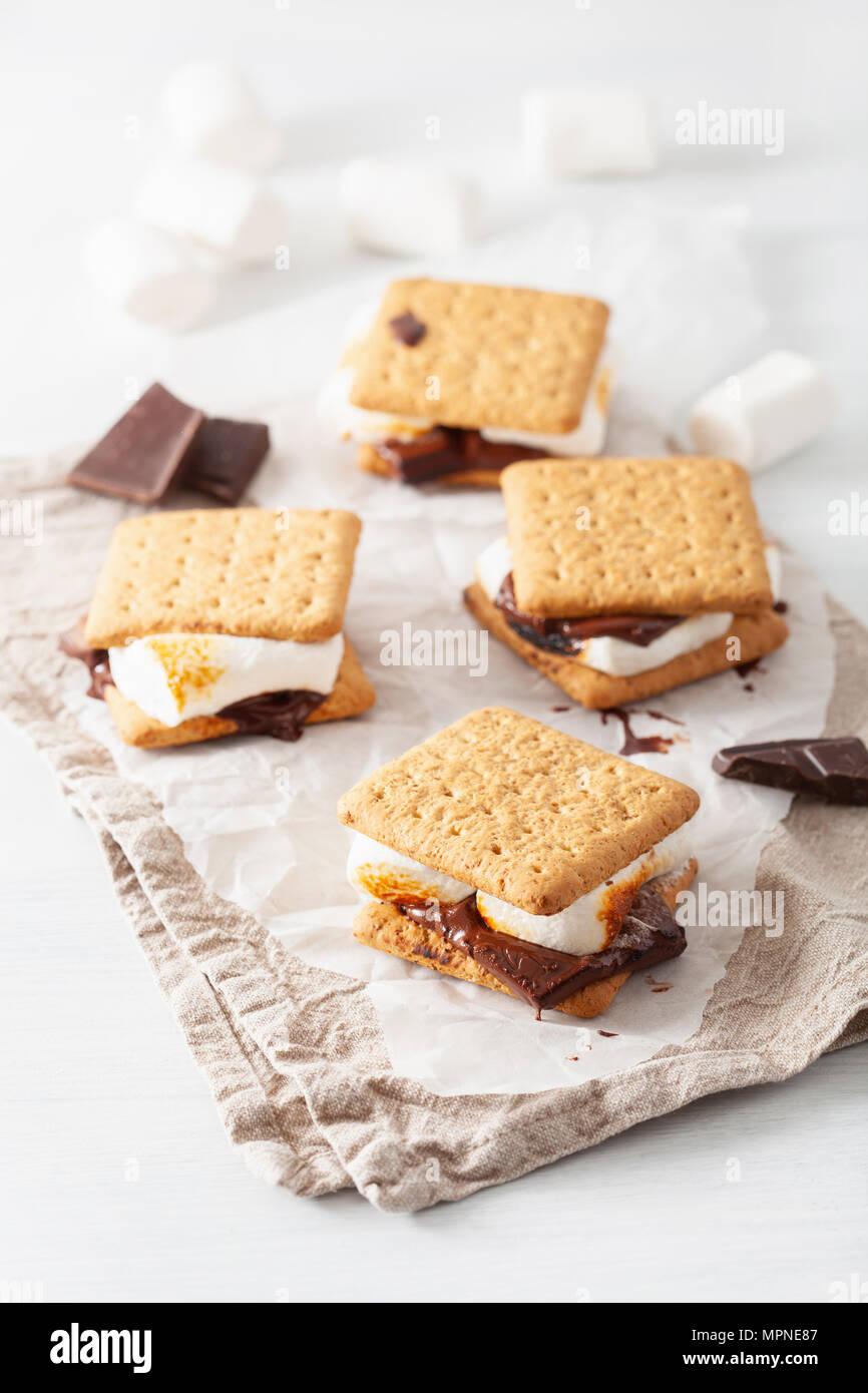 In casa marshmallow s'more con cioccolato sul cracker Immagini Stock