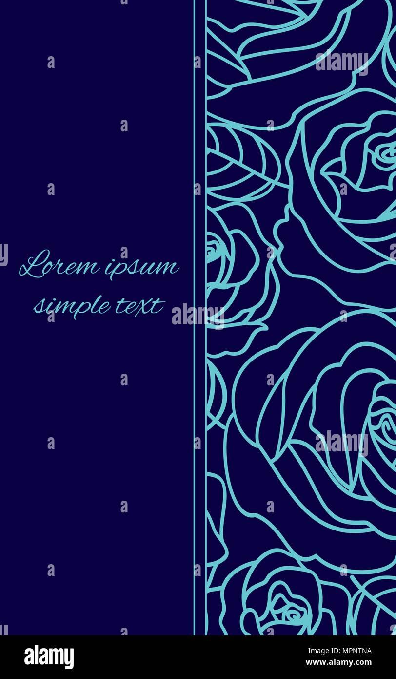 Vettore Inviti Nozze Con Un Pallido Contorno Blu Rose Su Sfondo Blu