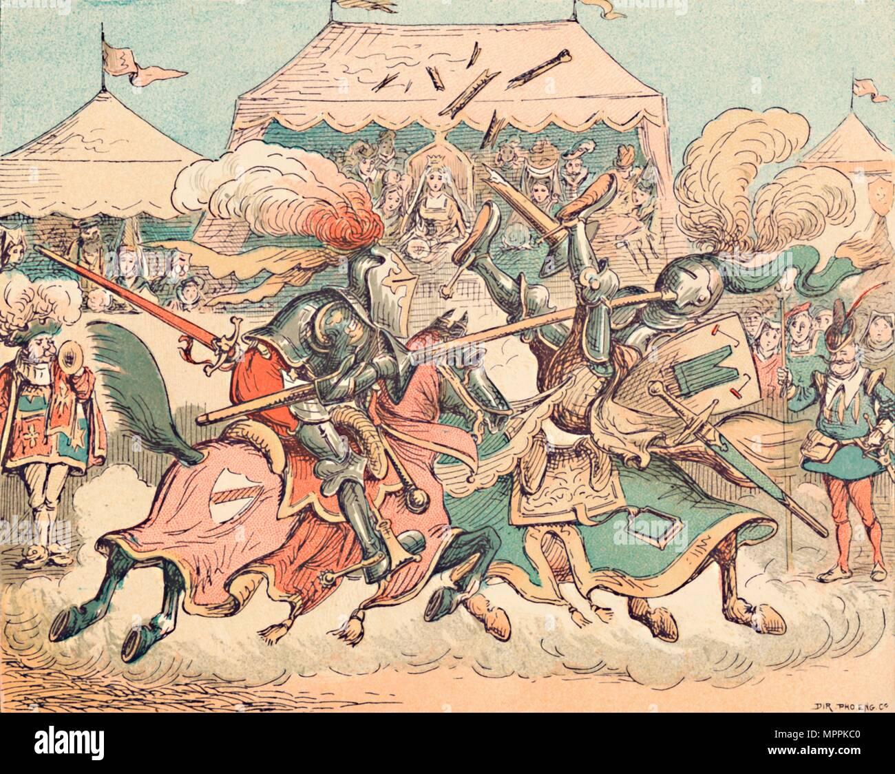 'Un torneo nel Medioevo', C1884. Artista: Thomas Seccombe forte. Immagini Stock