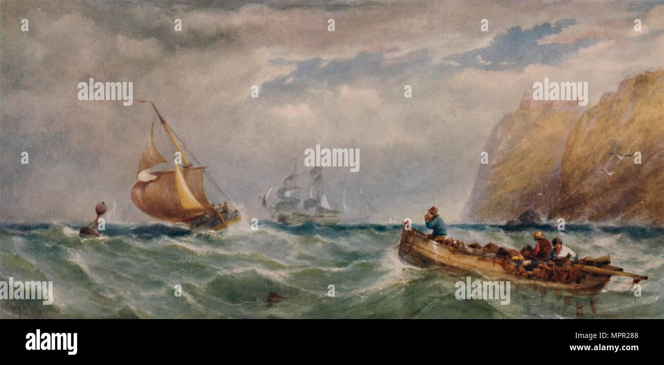 'Seapiece', 19th del Novecento (1935). Artista: Edwin Hayes. Immagini Stock