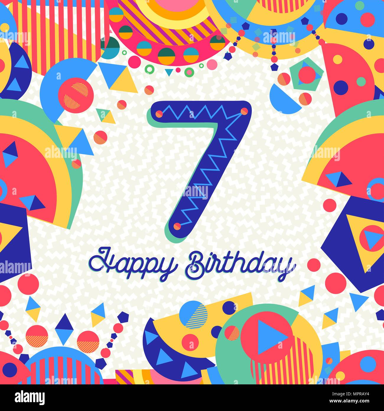 Auguri Buon Compleanno 7 Anni.Buon Compleanno Sette 7 Anno Design Divertente Con Il Numero