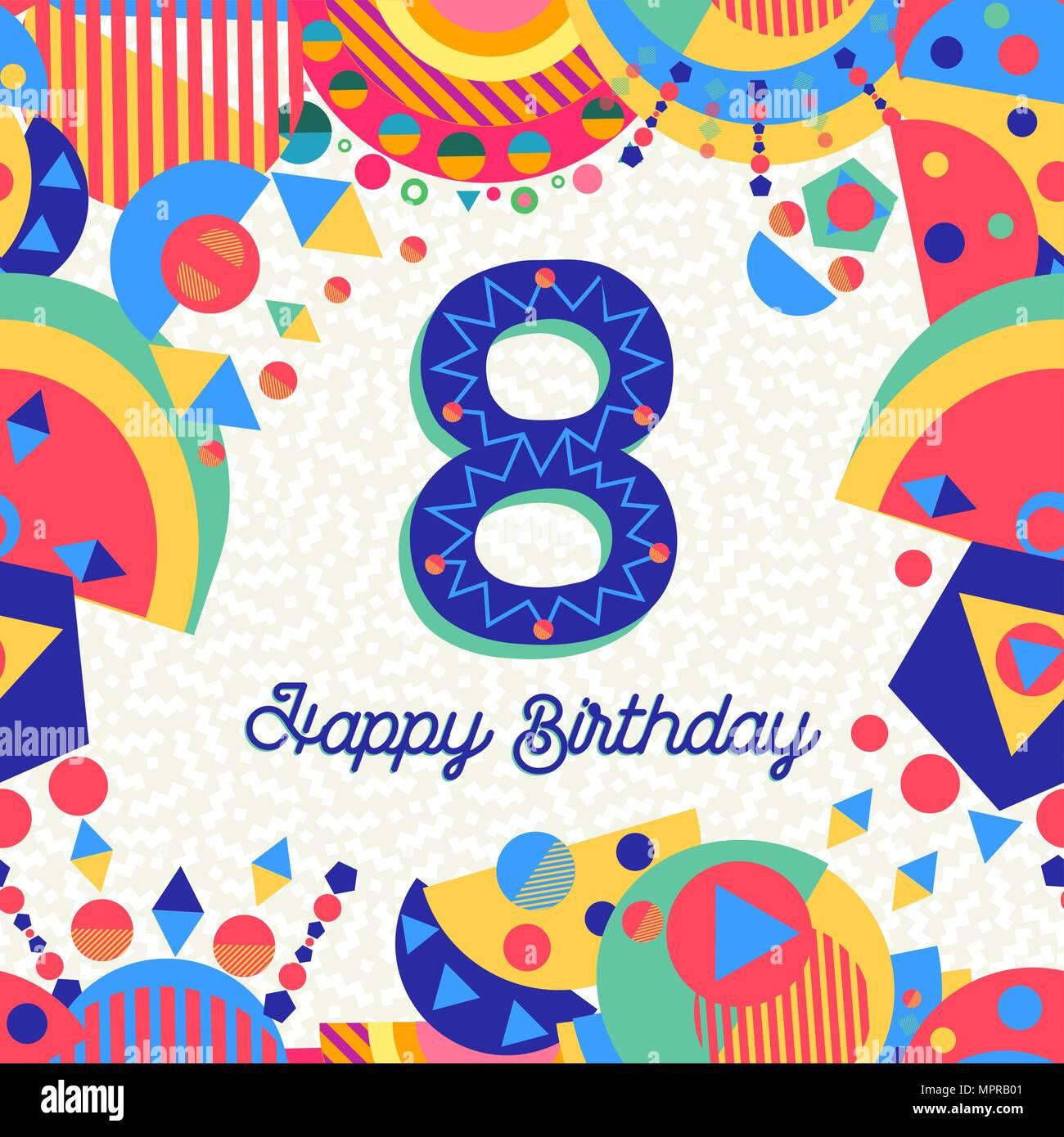 Auguri Di Buon Compleanno 8 Anni.Buon Compleanno Otto 8 Anno Design Divertente Con Il Numero
