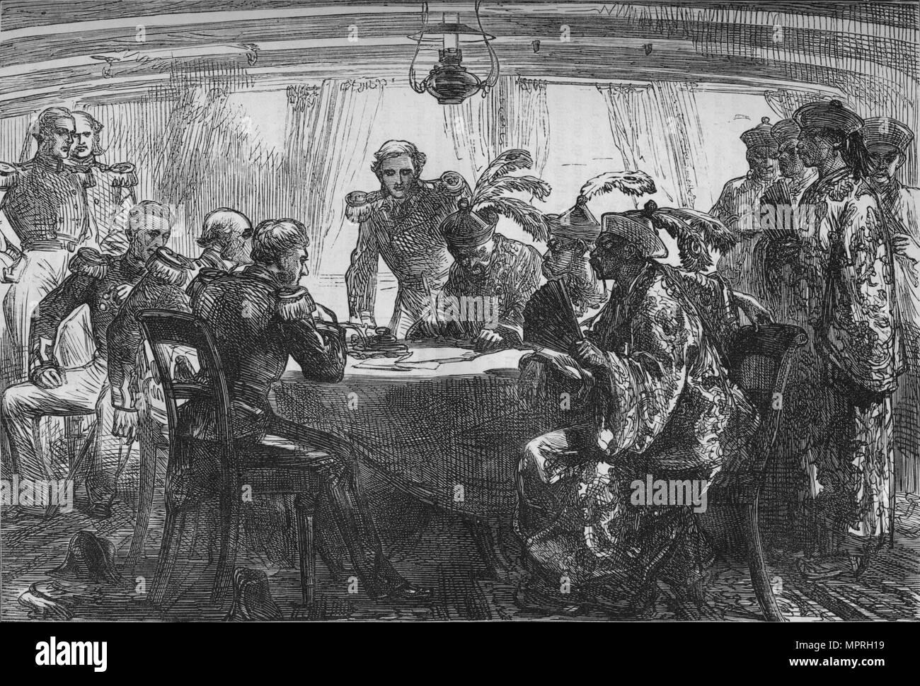'Signing il Trattato di Nankin', C1880. Artista: sconosciuto. Immagini Stock