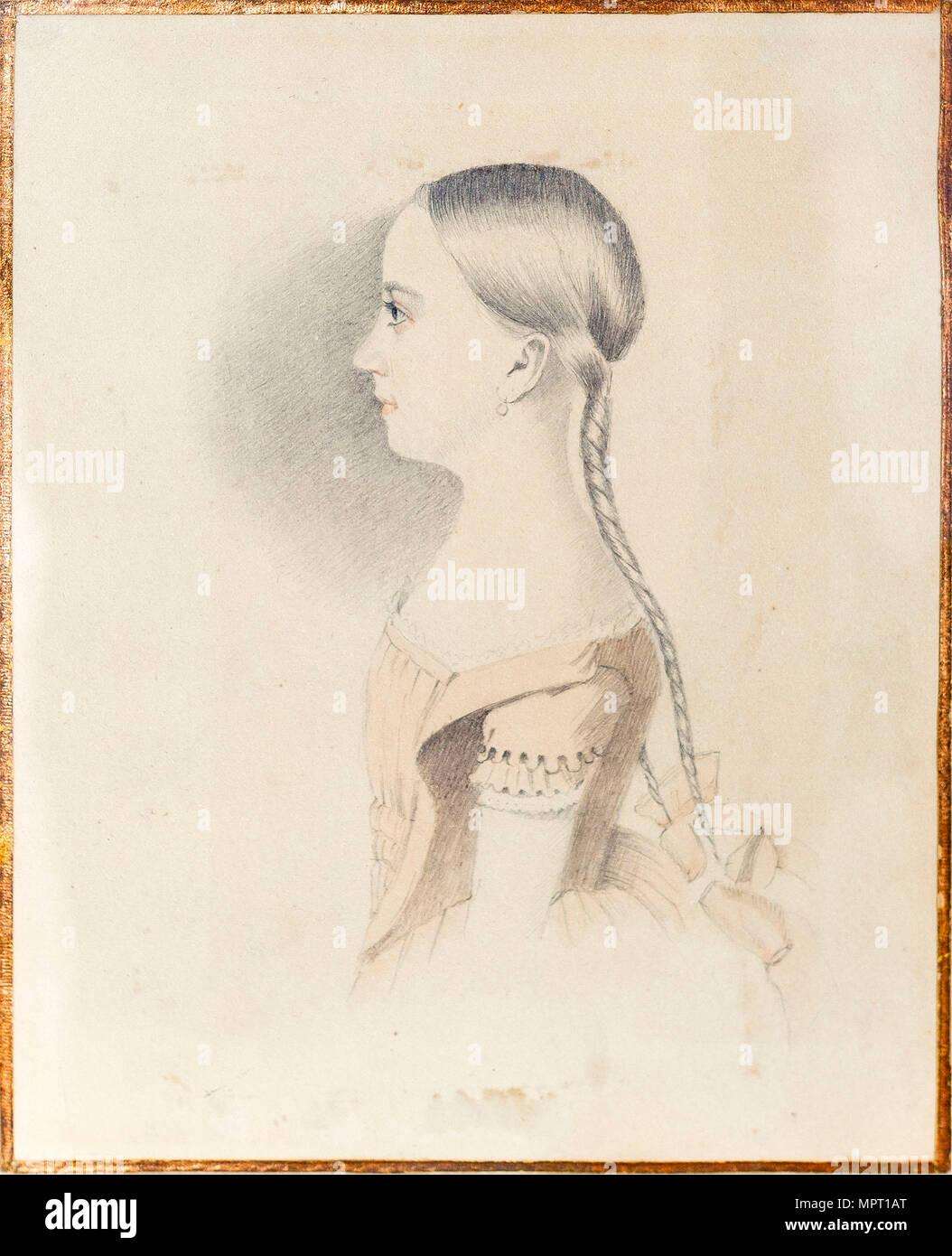 Ritratto di Maria Alexandrovna Pushkina (1832-1919), 1844. Foto Stock