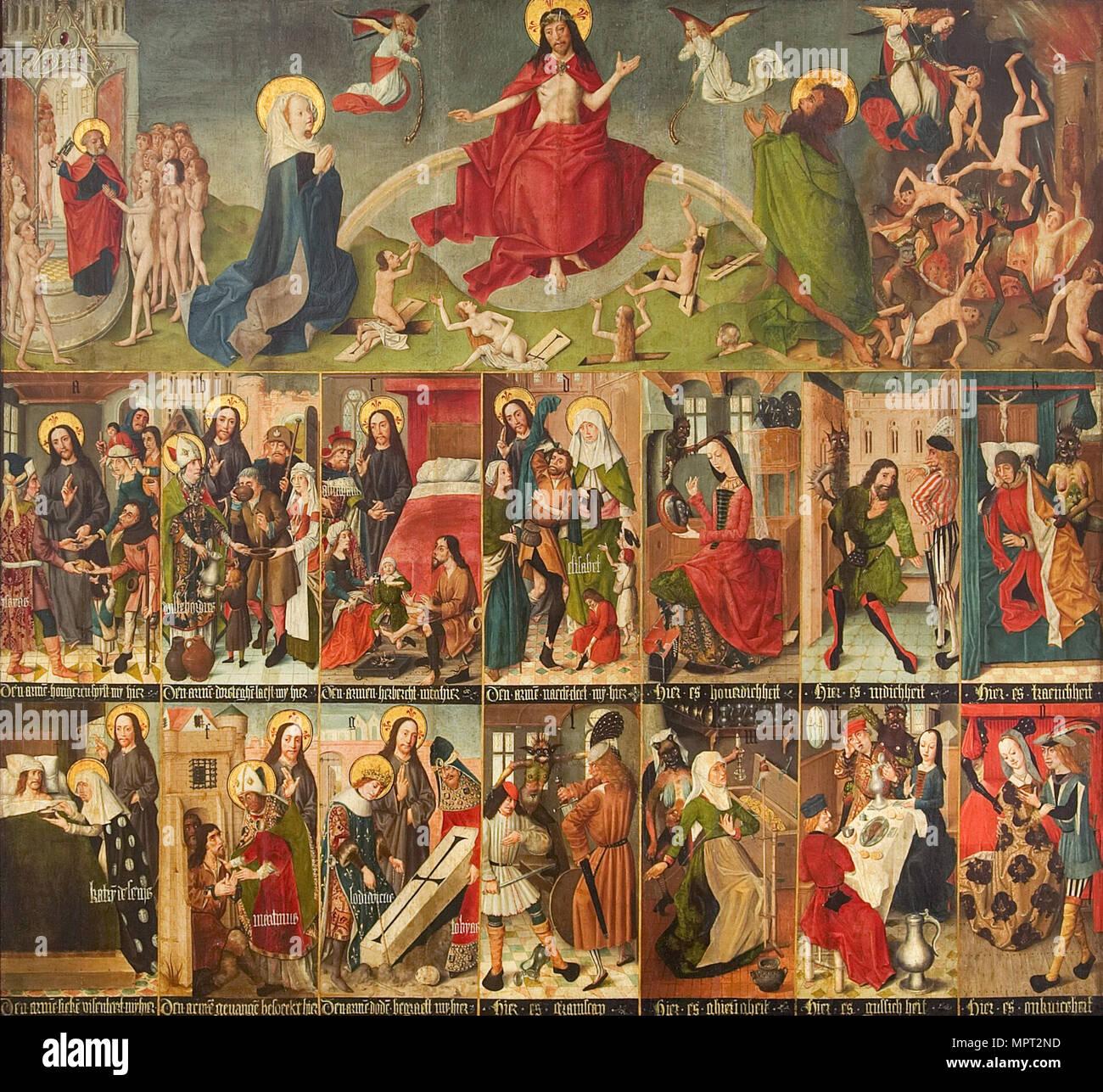 Ultima sentenza, le sette opere di misericordia e i sette peccati capitali, c. 1490-1499. Immagini Stock