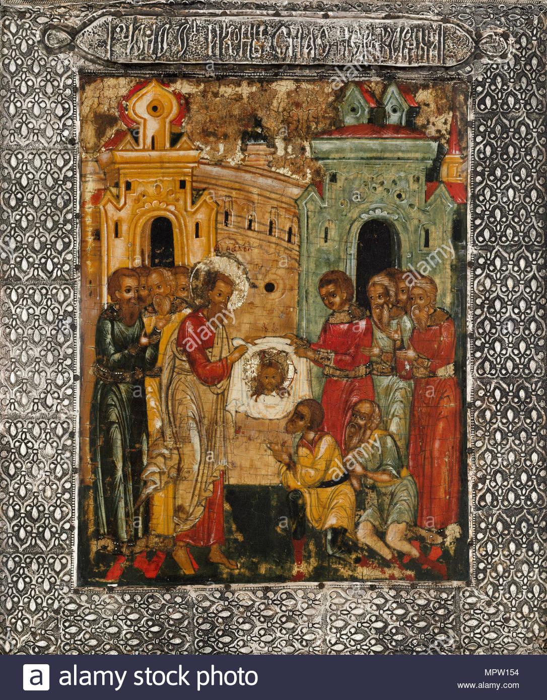 La meraviglia dell'icona del Salvatore non fatto da mani, ca. 1600. Immagini Stock