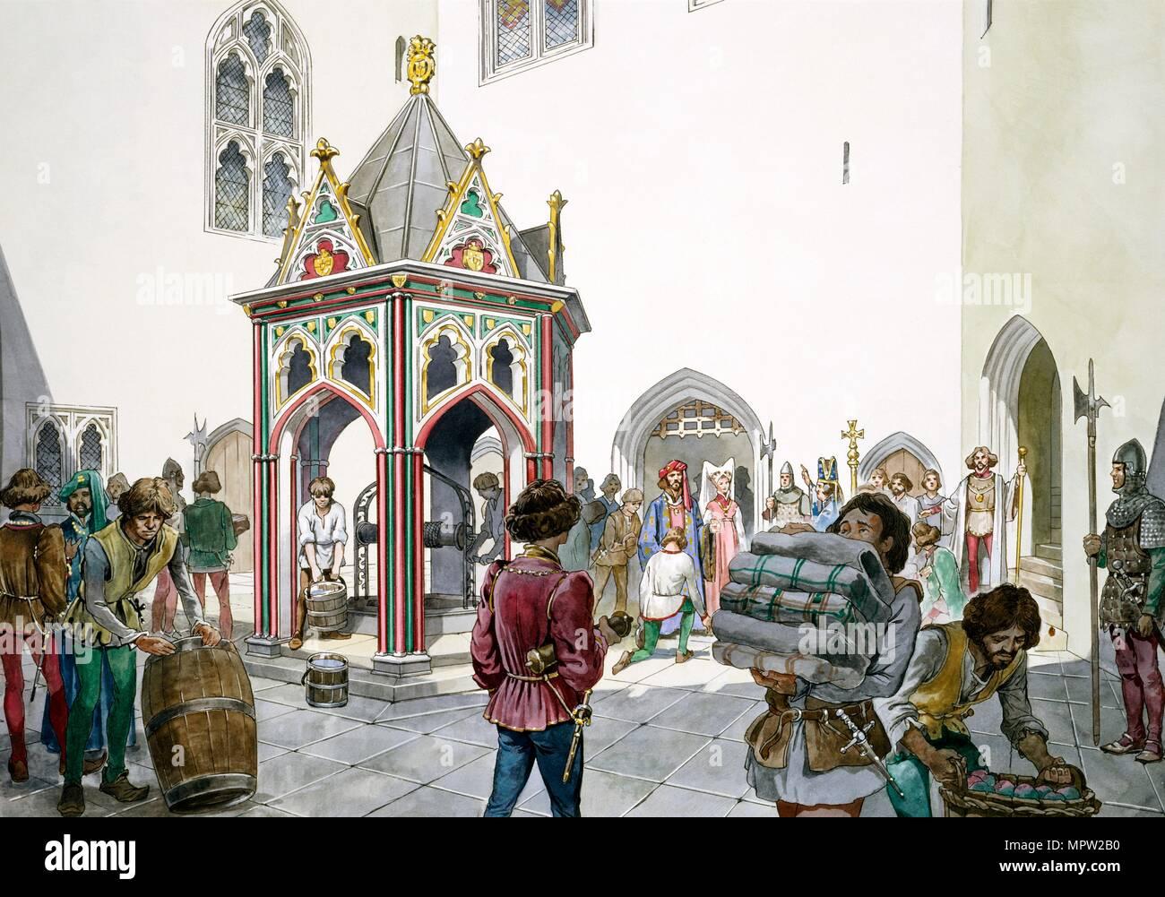 Il cortile antico Castello Wardour, Tisbury, Wiltshire, nel Medioevo, 1995-1999. Artista: Filippo Corke. Immagini Stock