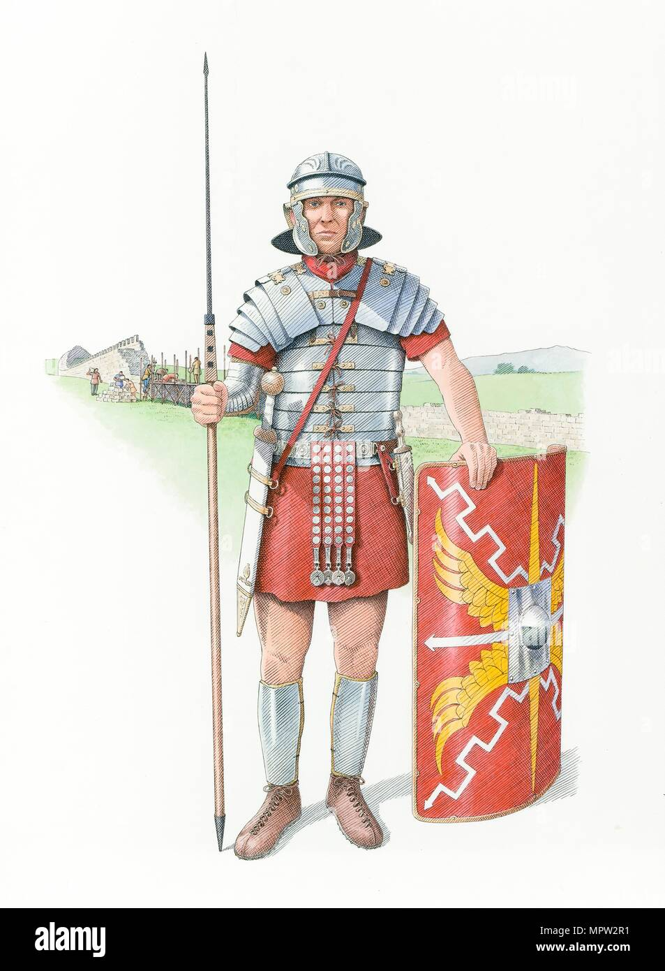 Legionario romano soldato, c120 (2014). Artista: Nick Hardcastle. Immagini Stock