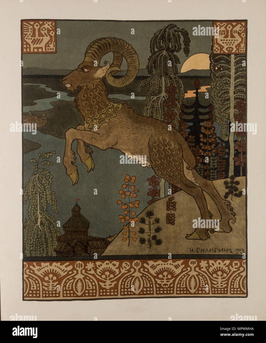 Illustrazione per la vecchia leggenda russa Volga, 1901-1904. Immagini Stock