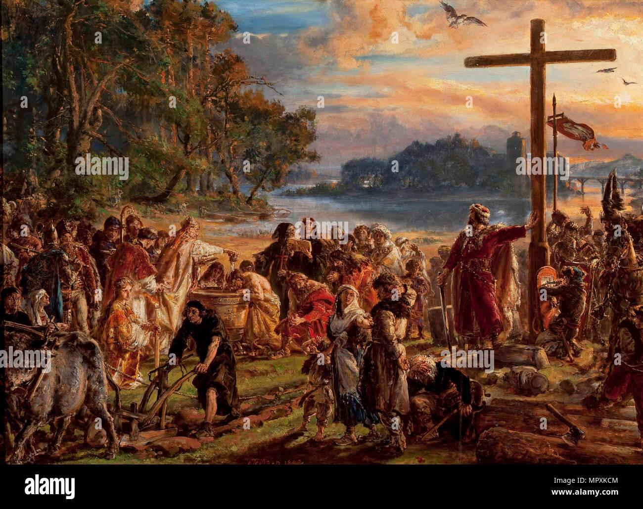 La cristianizzazione della Polonia, 966. Dalla serie storia della civiltà in Polonia, 1889. Immagini Stock
