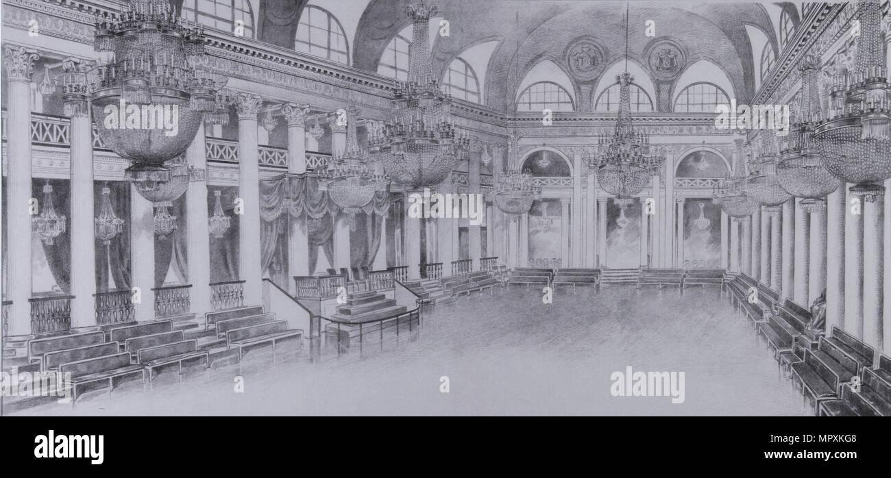 Interno della sala da ballo del gruppo della nobiltà di Mosca, 1840s. Immagini Stock