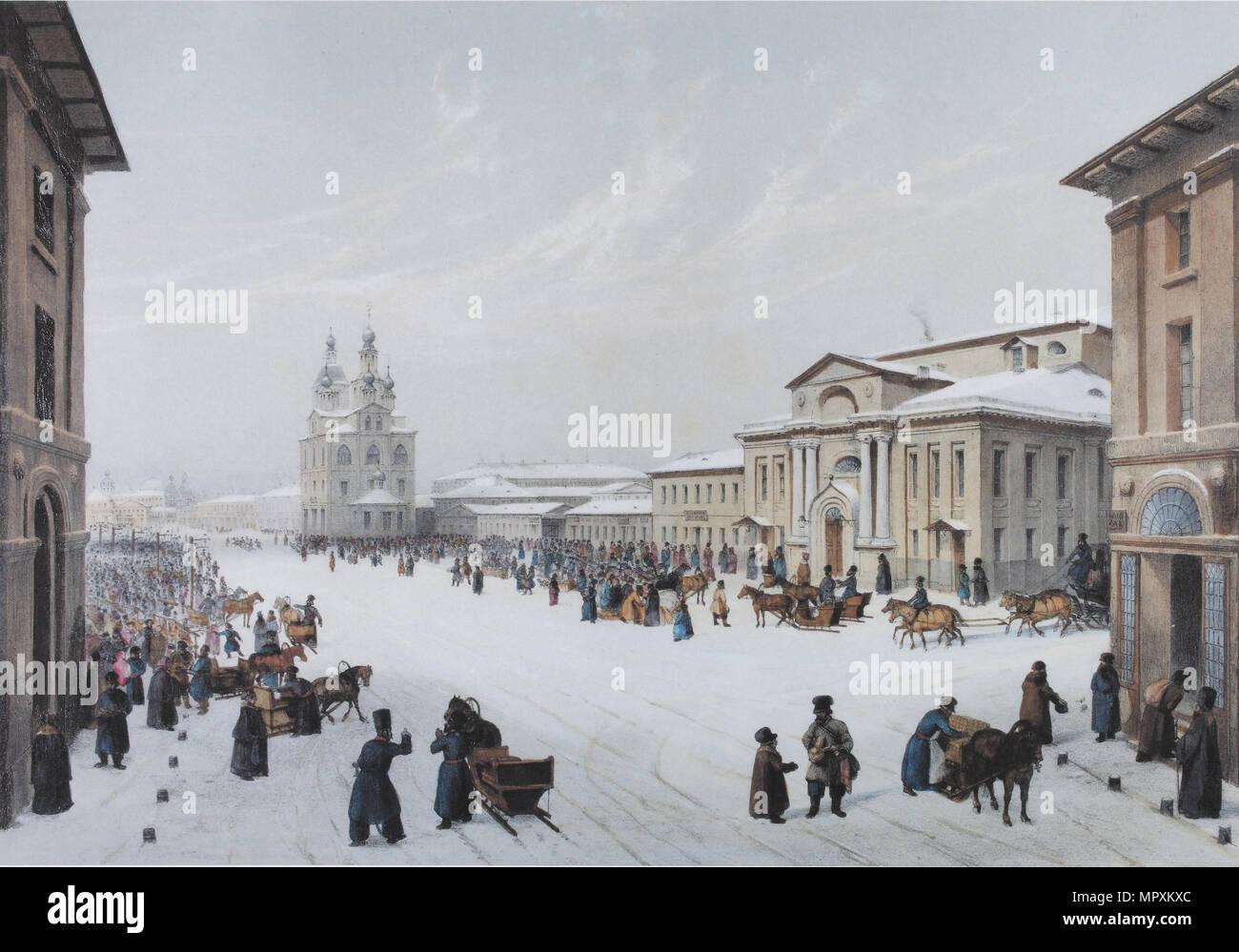 Okhotny Ryad Street (Caccia Riga) e il gruppo della nobiltà della casa di Mosca, 1840s. Immagini Stock