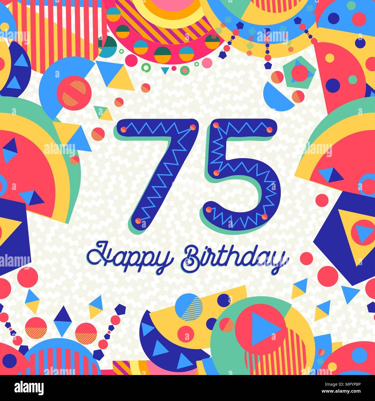 Auguri Di Buon 75 Compleanno.Buon Compleanno Settantacinque 75 Anno Design Divertente Con