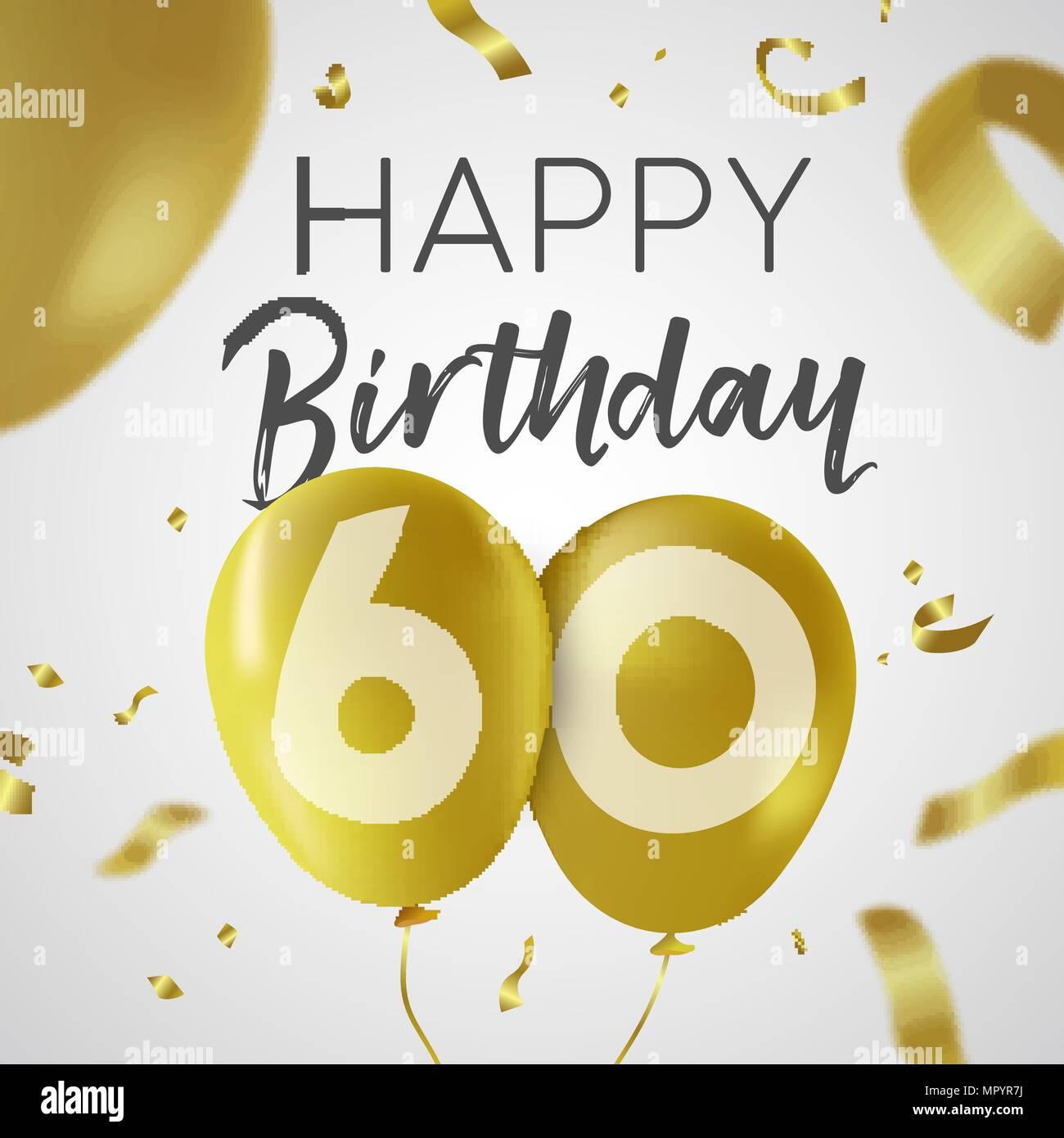 Buon Compleanno 60 Sessanta Anni Design Di Lusso Con Palloncino Oro