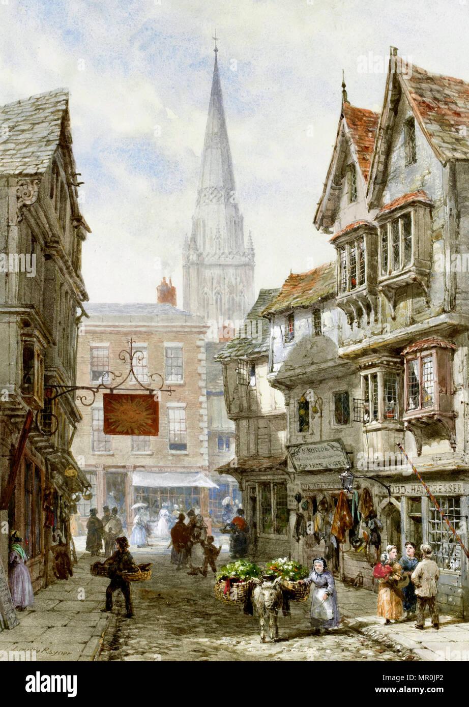 Minster Street, Salisbury. Firmato Louise Rayneri. Acquarello e tempera, 1924 Immagini Stock
