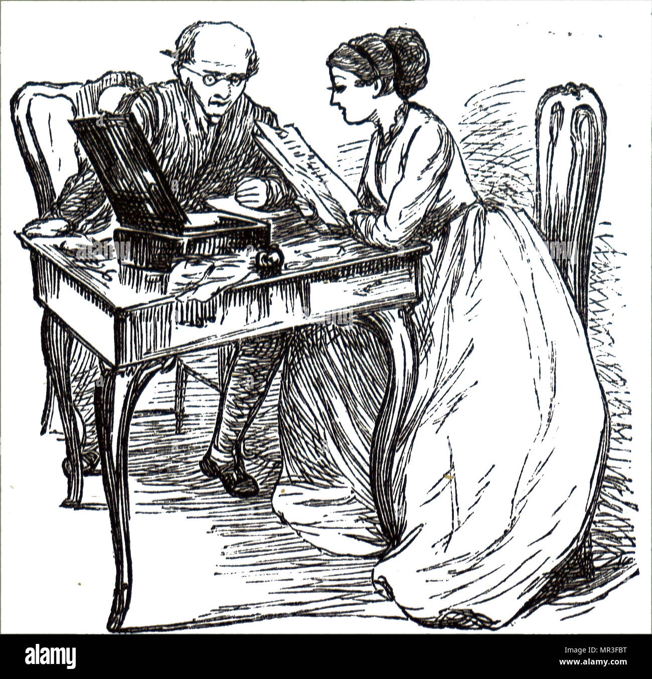 Illustrazione raffigurante una giovane donna ri-leggere una lettera che aveva appena scritto a suo padre. Datata del XIX secolo Immagini Stock