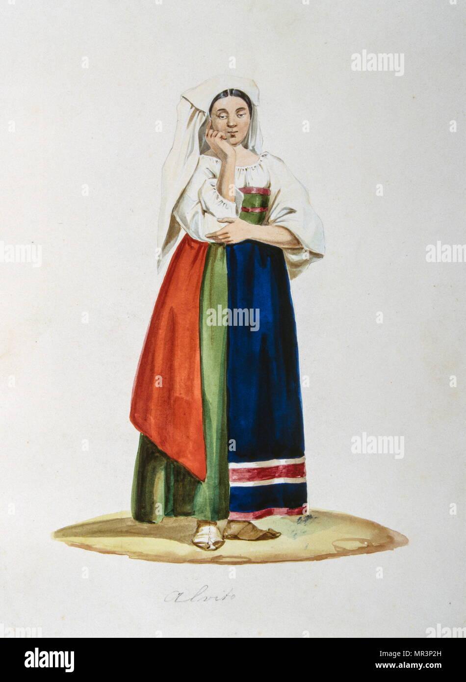 La pittura a tempera raffigurante un contadino italiano in costume tradizionale. Circa 1850 Foto Stock