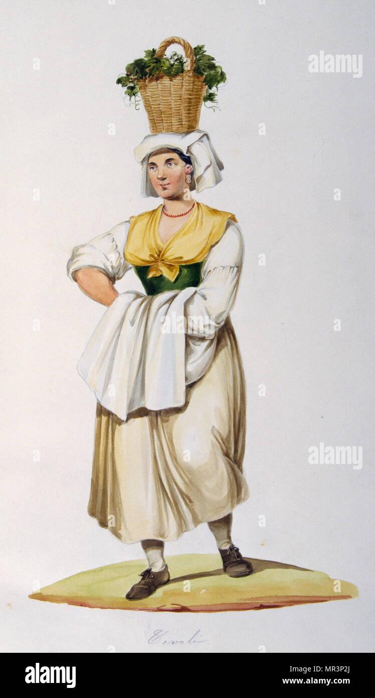 La pittura a tempera raffigurante un contadino italiano in costume tradizionale. Circa 1850 Immagini Stock