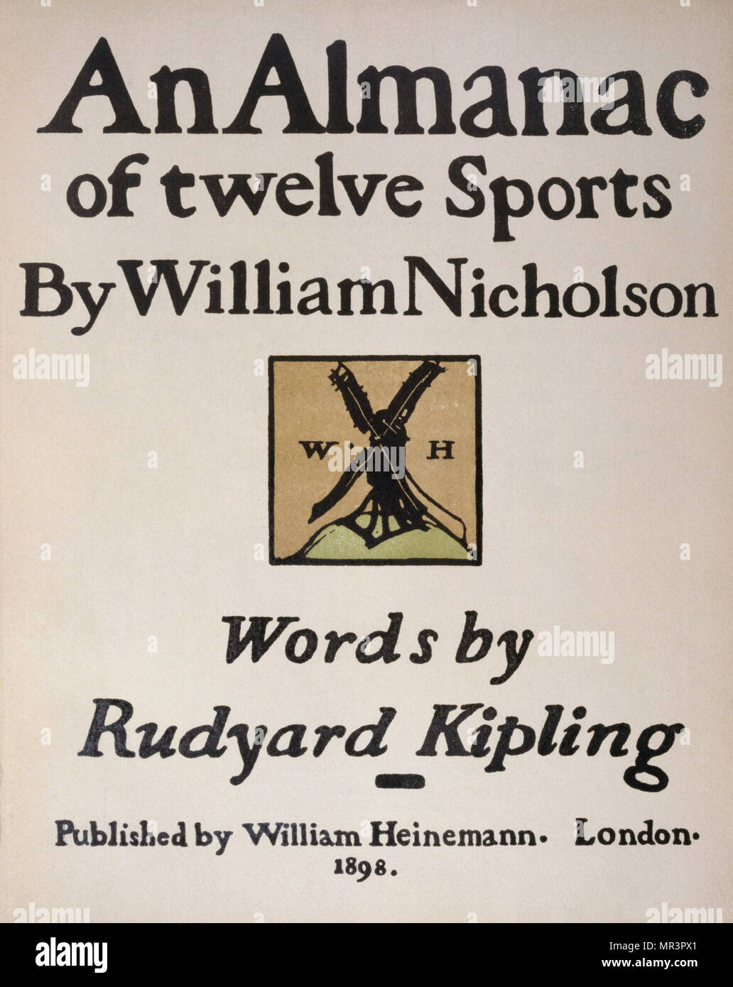 dca47dd0f Titolo pagina del Almanacco dei dodici sport, 1898, da Rudyard Kipling,  illustrata da Sir William Nicholson (1872 - 1949), pittore inglese,  conosciuto per ...