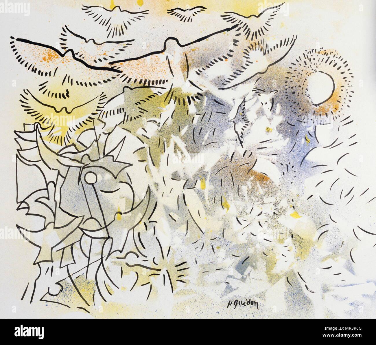 Allegro' 1983, da Henri Guédon; pittore e musicista jazz dalla Martinica. (1944-2006). Immagini Stock