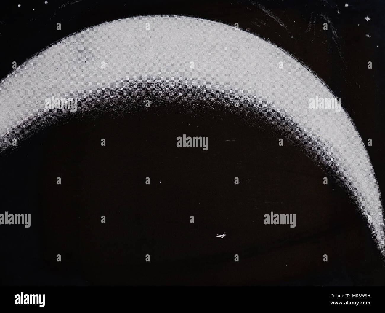 """Illuminato sagoma umana come visto da Marte. Idea per comunicare con gli abitanti di Marte illuminando una vasta area (diversi chilometri quadrati) di neve la sagoma di un uomo con lampade ad arco. L'articolo presuppone che Marte è abitato da esseri intelligenti a causa del """"canali"""" - e dato che siamo in grado di vedere Diemos e Phobos attraverso i nostri telescopi il marziano gli astronomi sarebbe vedere la figura gigantesca come illustrato. Datata del XIX secolo Immagini Stock"""